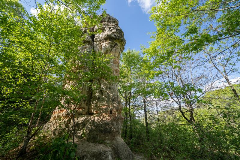 Chimney Rock in Hastings Minnesota is a 30-foot-tall sandstone rock pillar located in Dakota County.  royalty free stock image