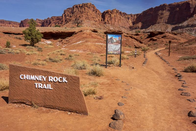 Chimney Rock Hiking Trailhead in Capitol Reef National Park. Chimney Rock Trailhead Information Table and Great Hiking Trail near Capitol Reef National Park stock photography