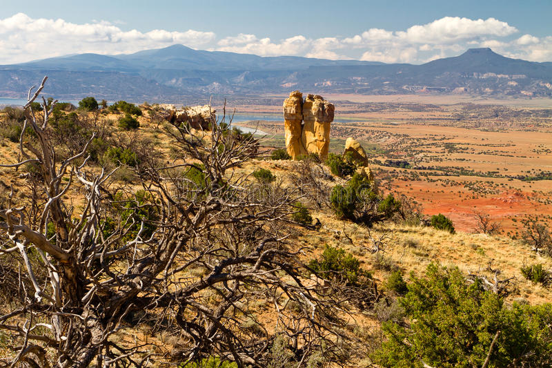 Chimney Rock, New Mexico rock formation. Chimney rock, formation near Ghost Ranch, New Mexico; Pedernal mountain stock image