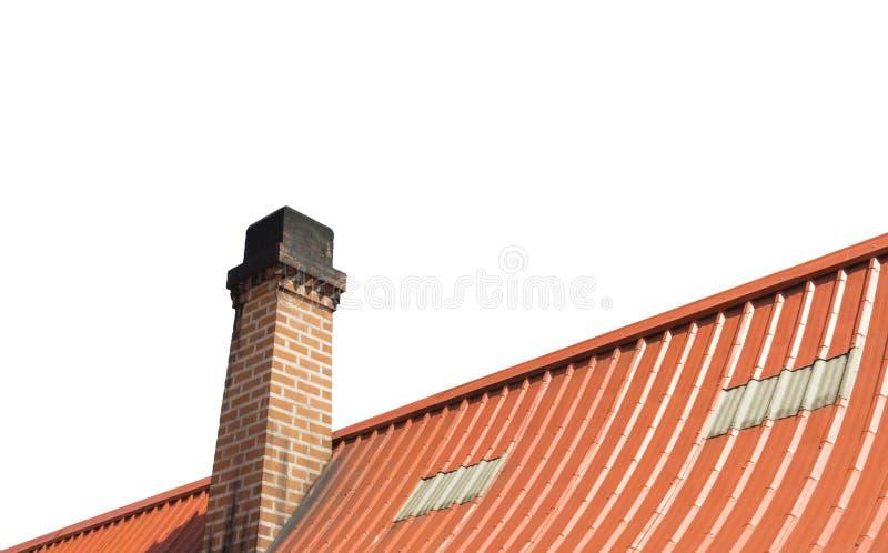 Chimney with roof tiles, Orange on white background stock photo