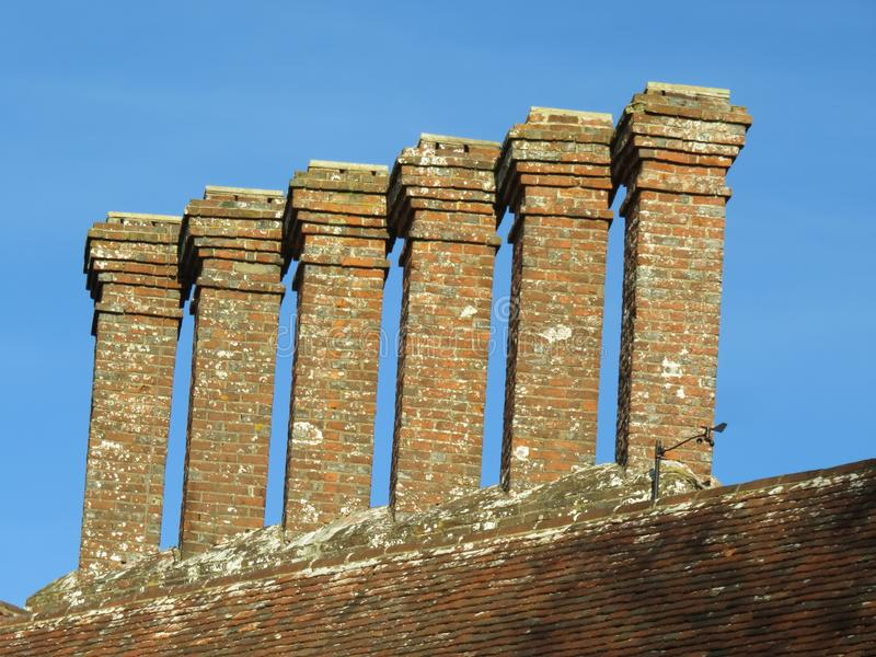 Chimney stack at Bateman& x27;s. Chimney stack on top Bateman& x27;s, an historic 17th century Jacobean house that was home to the famous writer Rudyard Kipling royalty free stock photos