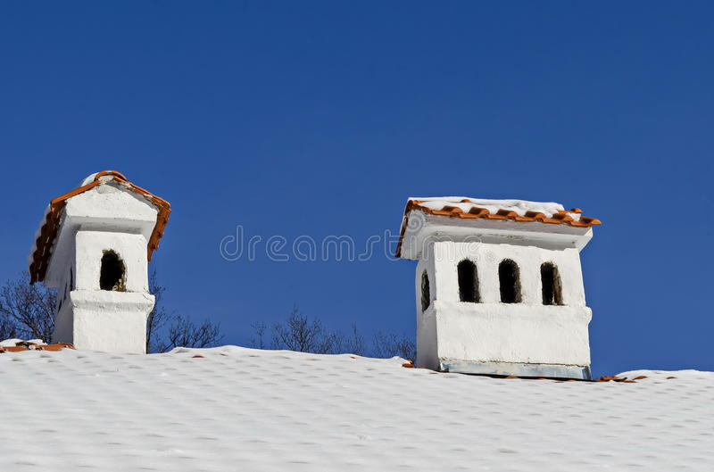 Chimney on traditional house in small town Koprivshtitsa stock photos