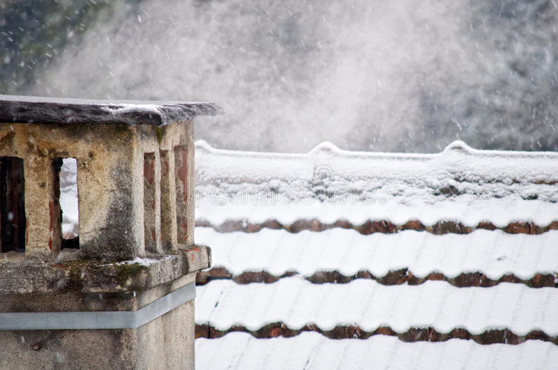 Chimney in winter stock images