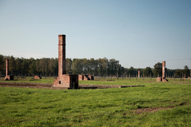 Chimneys At Auschwitz Concentration Camp Royalty Free Stock Photography
