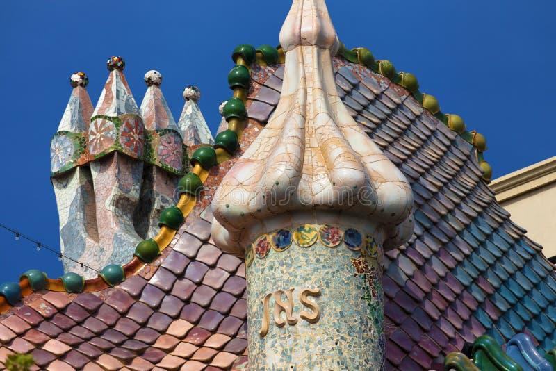 Chimneys of the Casa Batllo royalty free stock photo