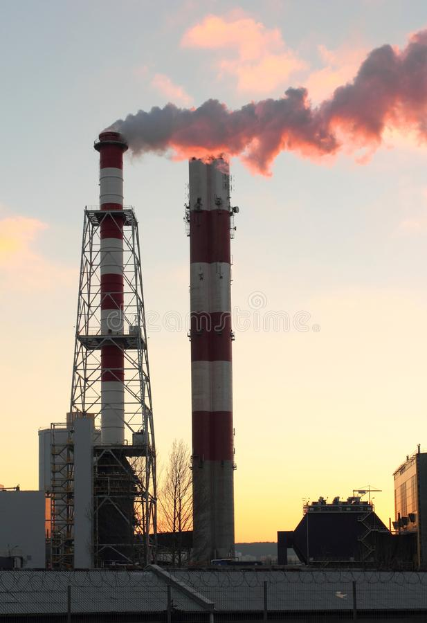 Chimneys of power plant. Power plant chimneys with steam emission, Gdynia, Poland stock images