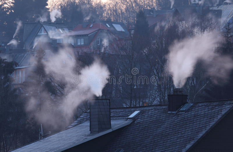 Download Chimneys Of Residential Houses Stock Image - Image: 23612261