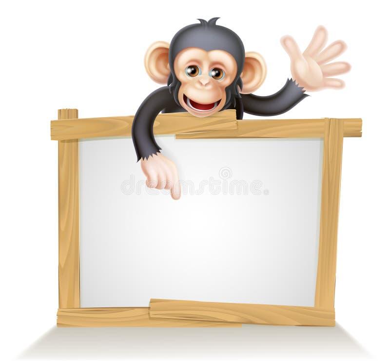 Chimp Sign. Cute cartoon chimp monkey like character mascot peeking above a sign, pointing at it and waving royalty free illustration
