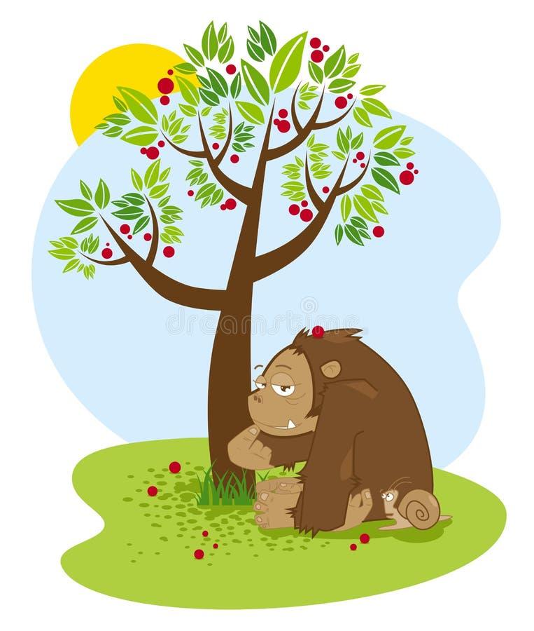 Chimpancé divertido y pequeño el caracol que se sienta debajo del árbol con caer roja de las frutas Ilustración del vector fotos de archivo