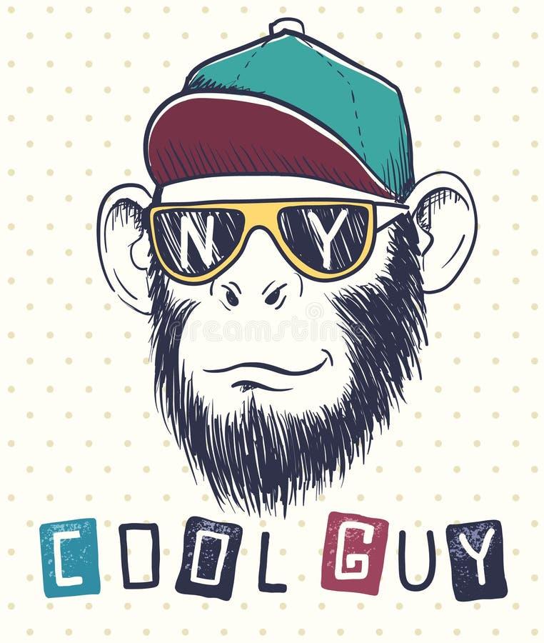 Chimpancé fresco del mono vestido en gafas de sol stock de ilustración