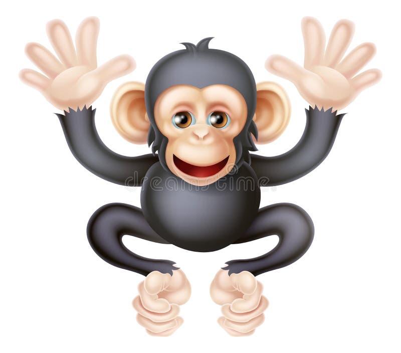 Chimpanzé bonito do bebê dos desenhos animados ilustração royalty free