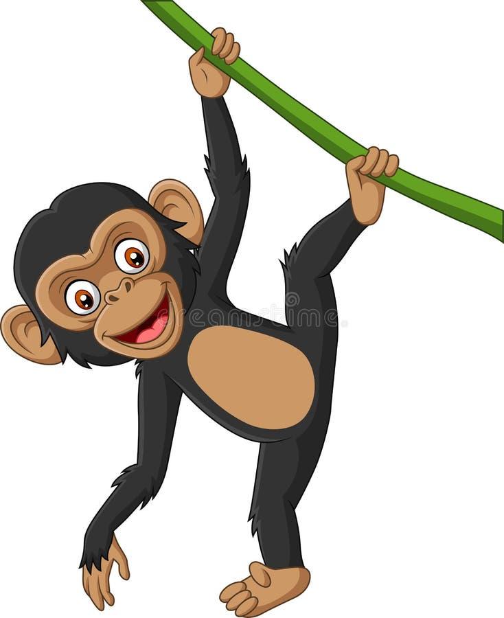 Chimpanzé de bébé de bande dessinée accrochant dans la branche d'arbre illustration libre de droits
