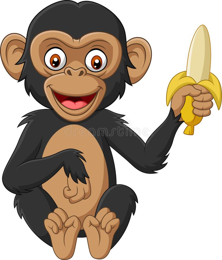 Chimpanzé de bébé de bande dessinée tenant une banane illustration stock