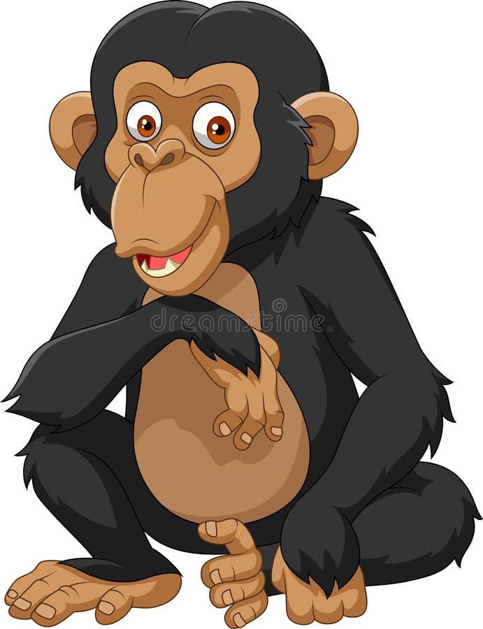 Chimpanzé de bande dessinée d'isolement sur le fond blanc illustration de vecteur