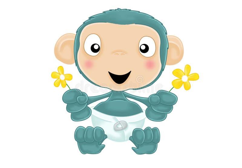 Chimpanzé de chéri avec des fleurs aucun fond illustration de vecteur