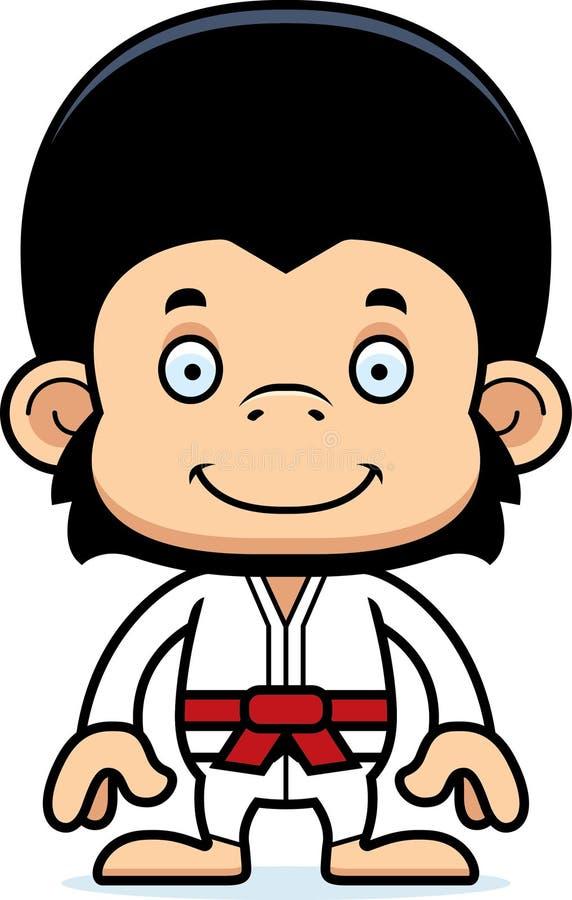 Chimpanzé de sorriso do karaté dos desenhos animados ilustração stock