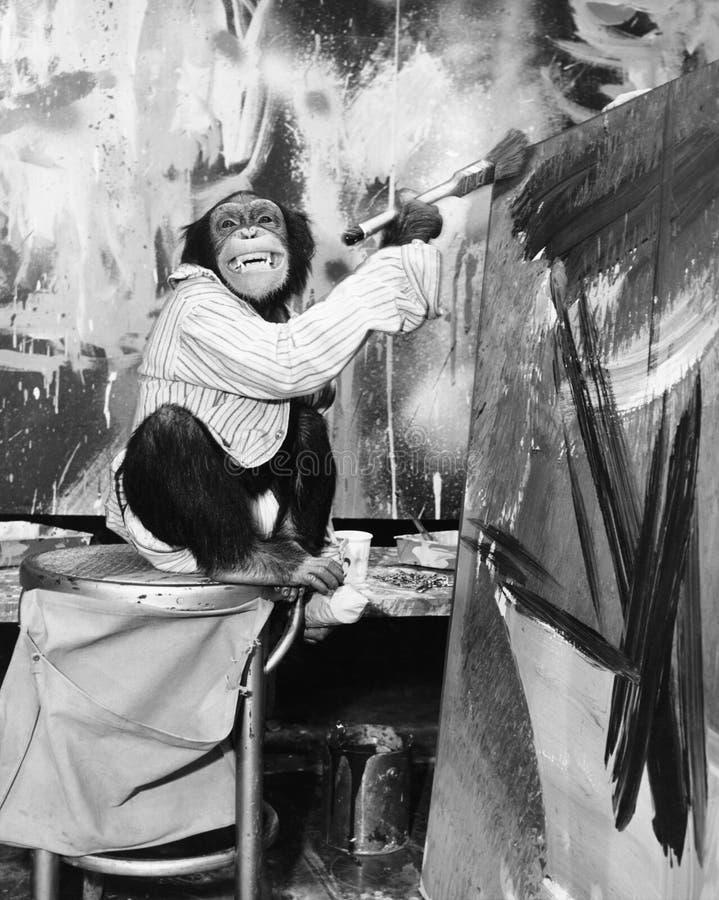 Chimpanzé en tant qu'artiste (toutes les personnes représentées ne sont pas plus long vivantes et aucun domaine n'existe Garantie photos libres de droits