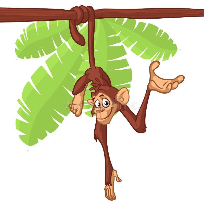 Chimpanzé mignon de singe accrochant sur l'illustration de vecteur simplifiée par couleur lumineuse plate en bois de branche dans illustration de vecteur