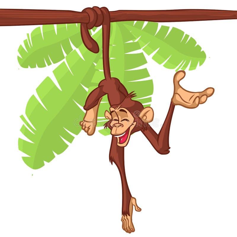 Chimpanzé mignon de singe accrochant sur l'illustration de vecteur simplifiée par couleur lumineuse plate en bois de branche dans illustration libre de droits