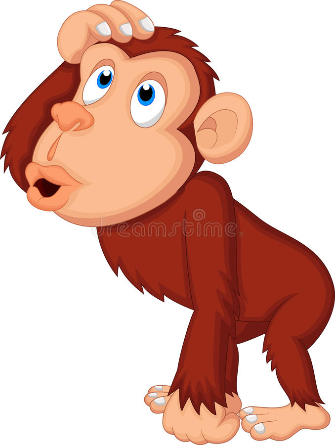 Chimpanzee cartoon thinking vector illustration