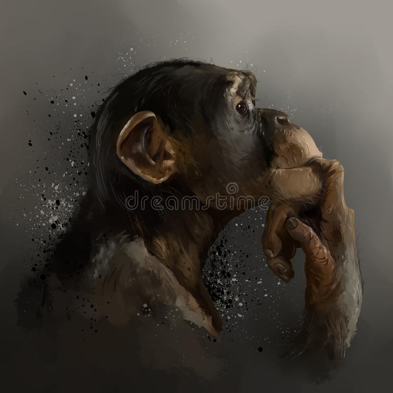 Chimpanzee, head, dark background and splashes. stock photo
