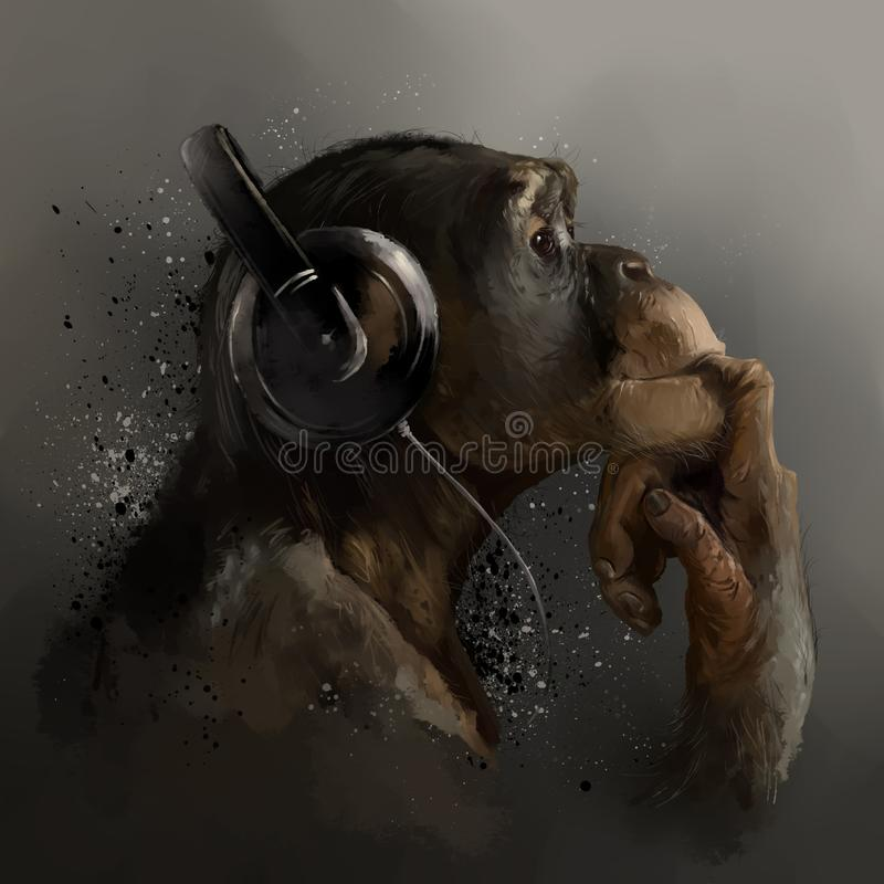 Chimpanzee listening to music. Watercolor drawing stock photography