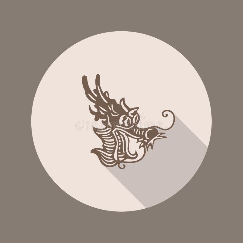 Chinês antigo Dragon Icon, projeto liso ilustração royalty free