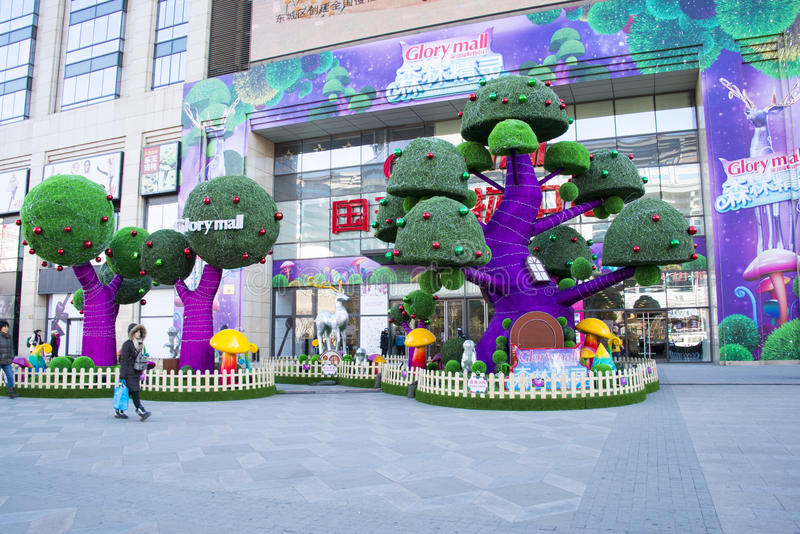 Chinês asiático, árvores de Natal, decorações imagens de stock