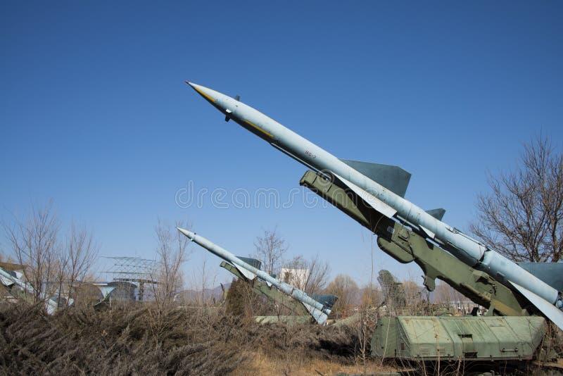 Chinês asiático, museu da aviação do Pequim, míssil da defesa aérea foto de stock