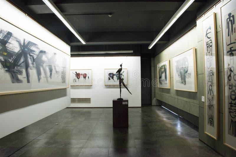 Chinês asiático, Pequim, Han Meilin Art Museum, o salão de exposição, arquitetura moderna imagens de stock