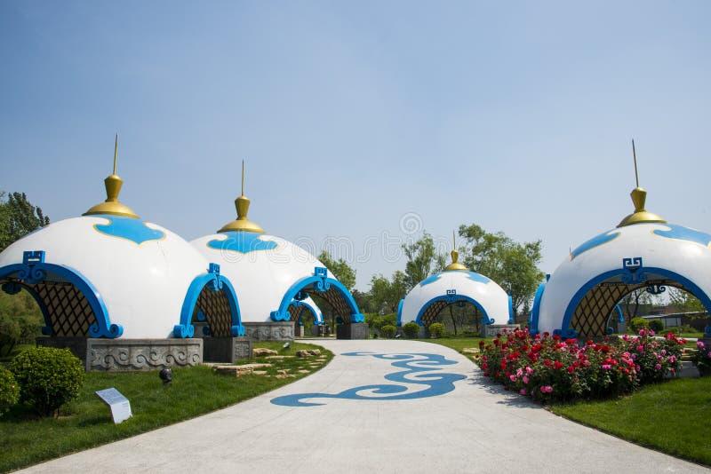 Chinês de Ásia, Pequim, expo do jardim, arquitetura paisagística, pacote de Mongólia fotografia de stock
