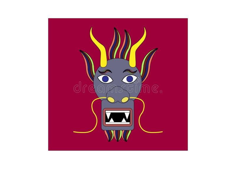 Chinês Dragon Head com fundo vermelho ilustração stock