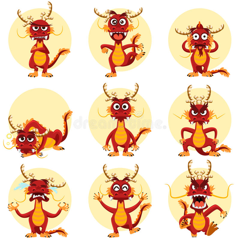 Chinês Dragon Mascot Emoticons Set ilustração royalty free