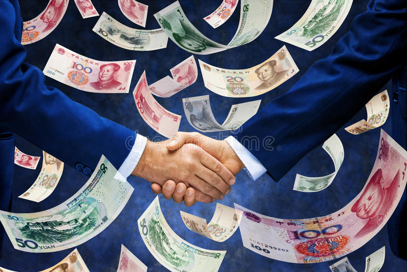 Chinês Yuan Money Handshake Business imagem de stock