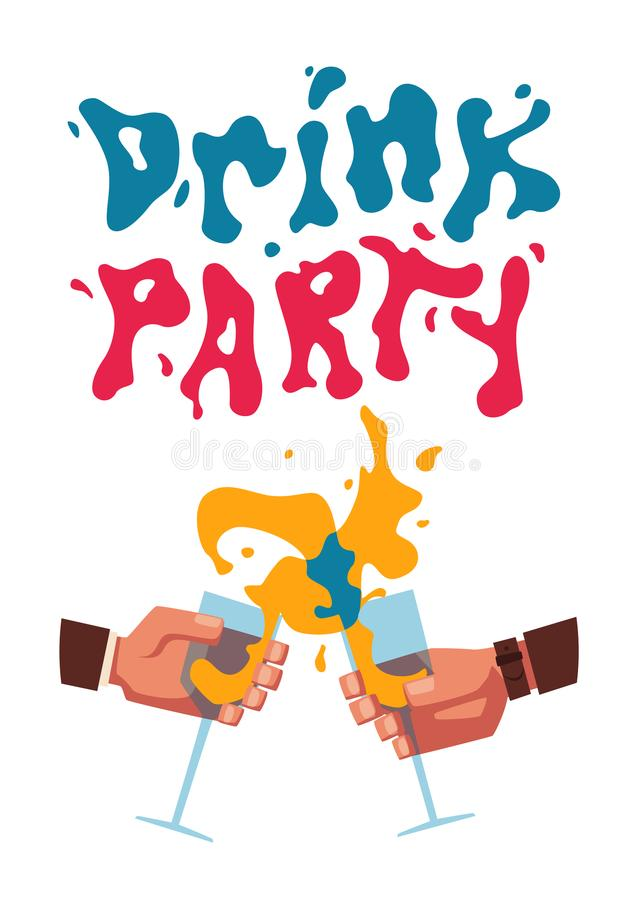 Chin-chin. Clinking glasses with alcohol and toasting,. Drink party. Cartoon flat vector illustration. Best friends, or coworkers. Celebration and fun. Hang out stock illustration