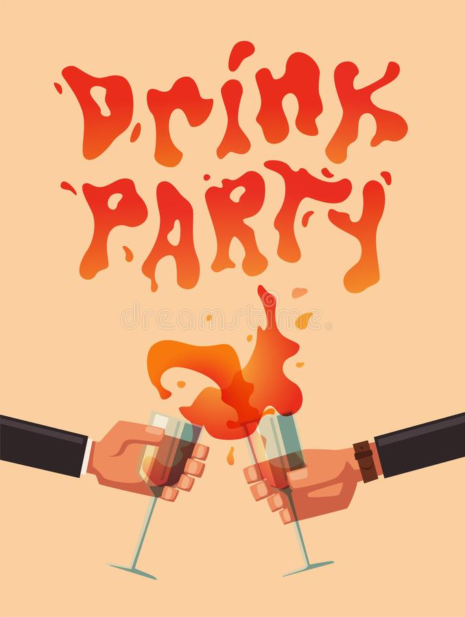 Chin-chin. Clinking glasses with alcohol and toasting,. Drink party. Cartoon flat vector illustration. Best friends, or coworkers. Celebration and fun. Hang out royalty free illustration
