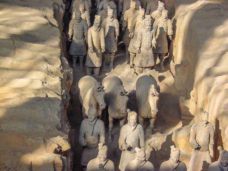 China's第一个皇帝坟茔的秦始皇兵马俑战士在西安 科教文组织世界遗产站点 免版税库存照片