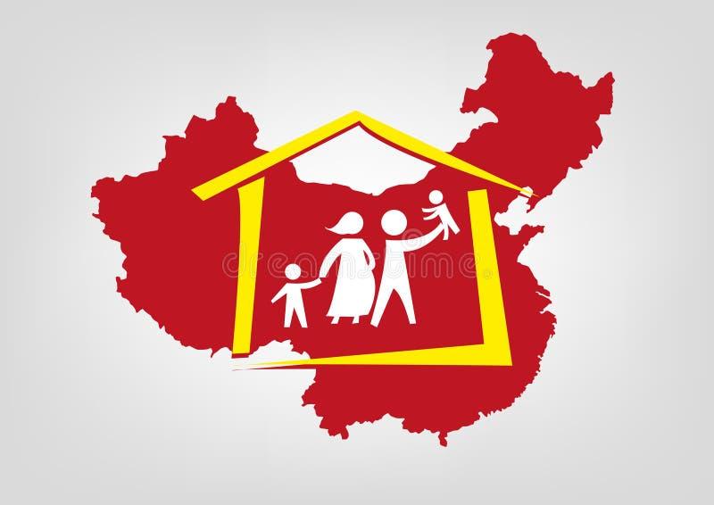 China abuliu seu conceito da política da um-criança Clipart editável ilustração do vetor