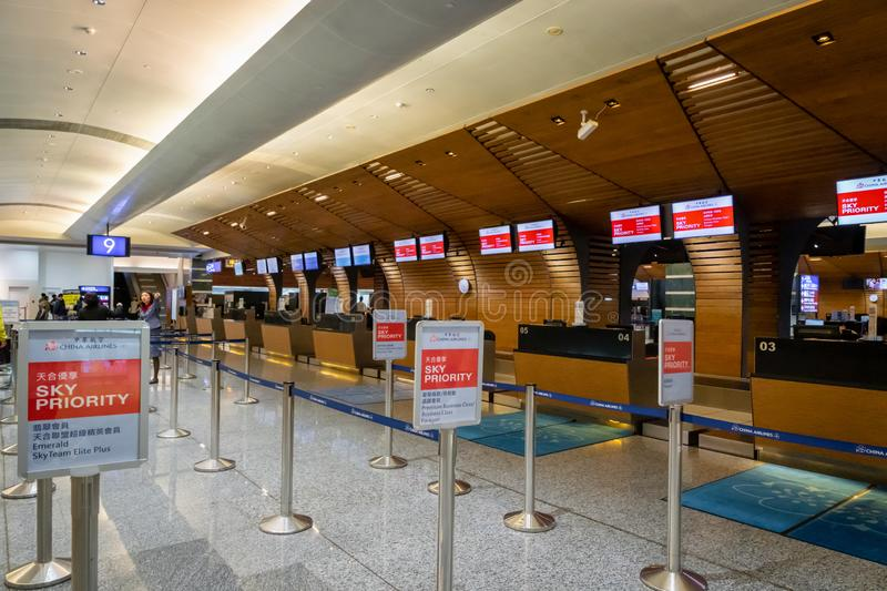 China Airlines check-in counter in Taipei  Taoyuan International Airport. royalty free stock photography