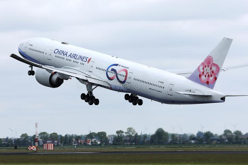 China Airlines plane taking off. China Airlines plane landing on runway stock image
