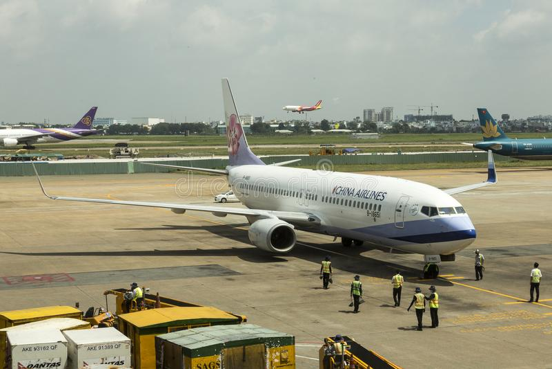 China Airlines, Taiwán - en el aeropuerto de Saigon fotografía de archivo