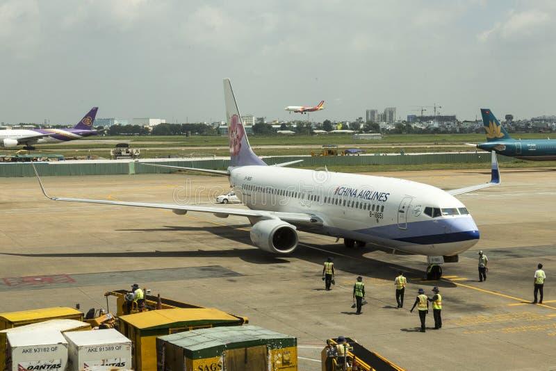 China Airlines, Taiwan - no aeroporto de Saigon fotografia de stock