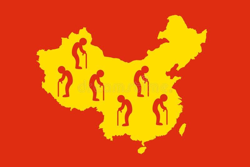 China als Land von alten Leuten - Bevölkerungsaltern/Altern stock abbildung
