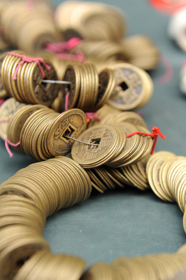 China-alte Münze stockfotos