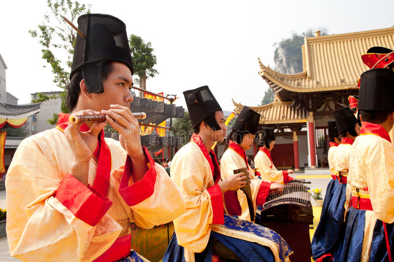 China ancient court musician royalty free stock photo