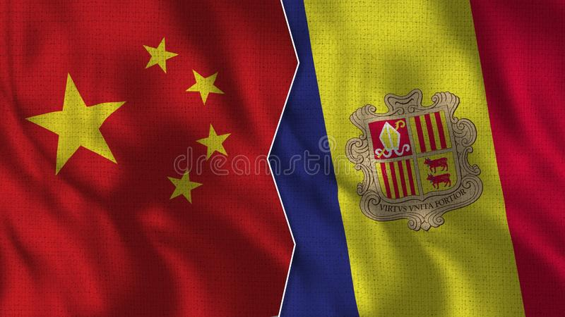 China and Andorra Half Flags Together. Fabric Texture - High Quality vector illustration