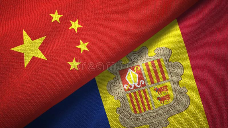 China and Andorra two flags textile cloth, fabric texture vector illustration