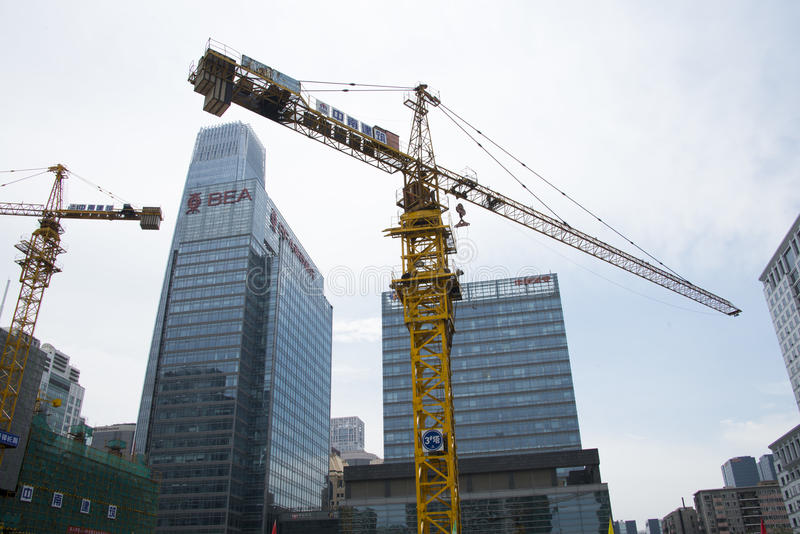 China Asia, Beijing, Central Business District, in the construction of CBD, tower crane. China Asia, Beijing, Central Business District, in the construction of royalty free stock photos
