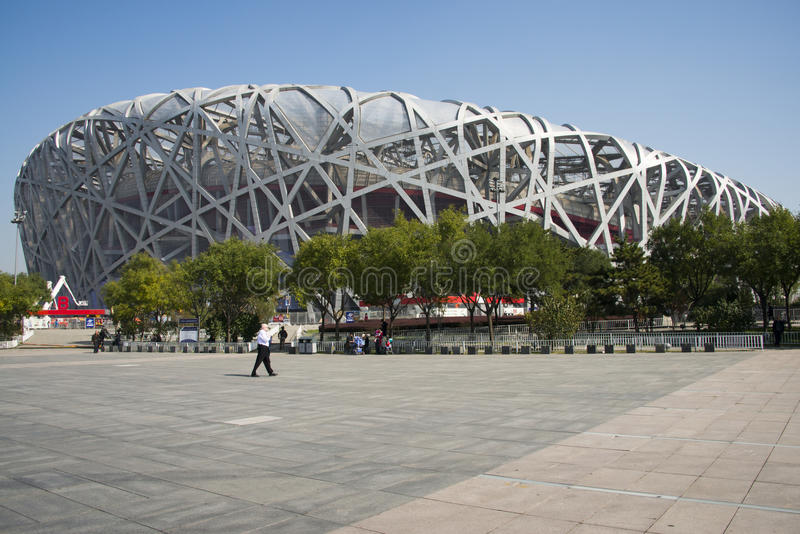 China, Asia, Beijing, the National Stadium, the bird's nest. The National Stadium is the main stadium of Beijing Olympic Games in 2008, due to the unique shape stock photos