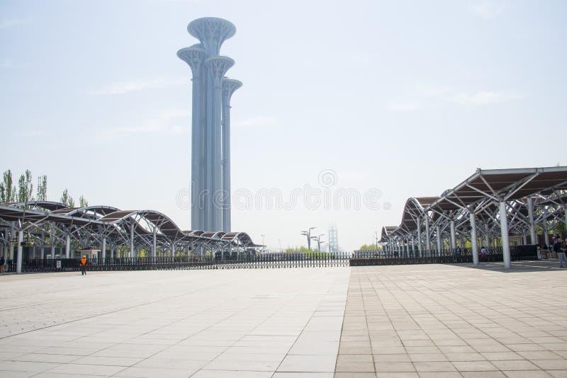 China Asien, Peking, olympische Forest Park, das moderne Gebäude, Galerie, Rahmen, Ausblickturm, lizenzfreies stockfoto